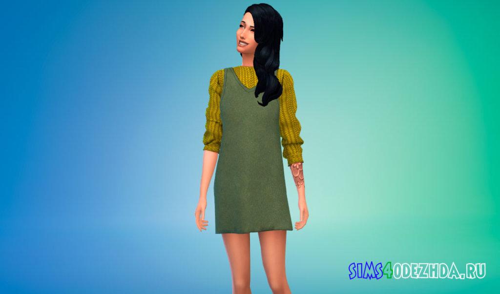 Уютное платье поверх свитера для Симс 4 - фото 2