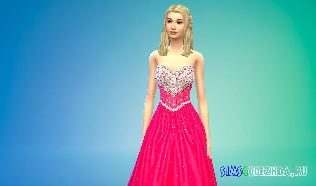 Бальное платье с бисером для Симс 4 - фото 1