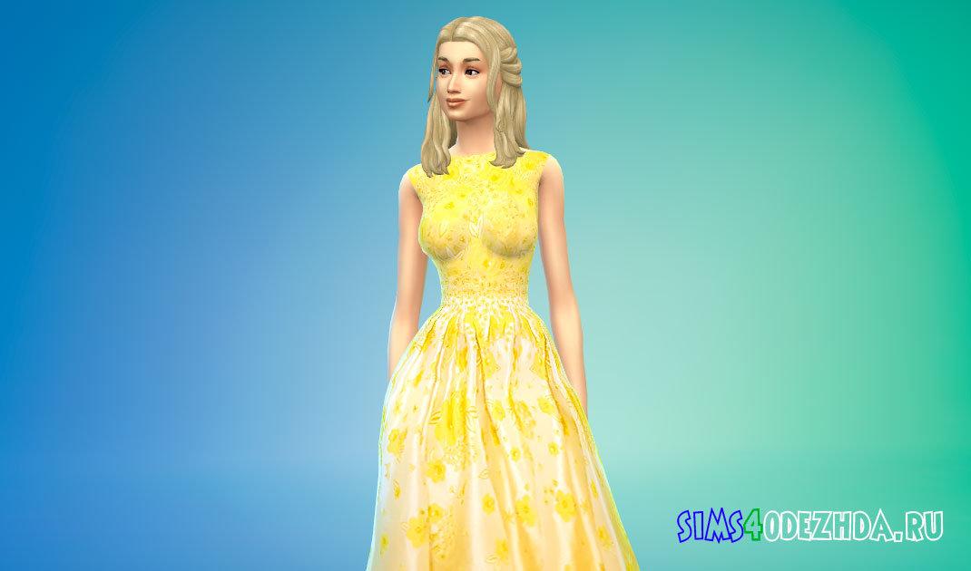 Бальное платье с цветочным принтом для Симс 4 - фото 1
