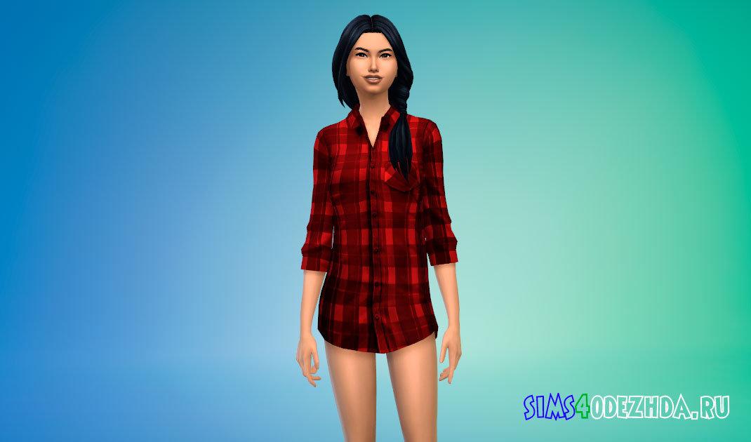 Длинная женская рубашка в клетку для Симс 4 - фото 1