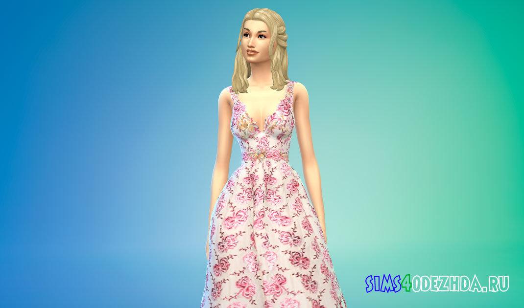 Длинное бальное платье с цветочным вышивкой для Симс 4 - фото 1
