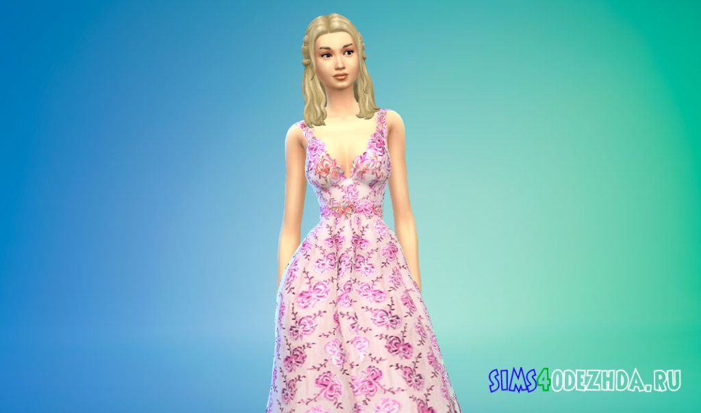 Длинное бальное платье с цветочным вышивкой для Симс 4 - фото 2