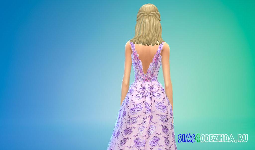 Длинное бальное платье с цветочным вышивкой для Симс 4 - фото 3