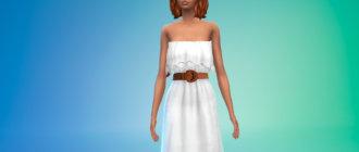Длинное платье с поясом для Симс 4 - фото 1