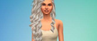 Длинные волнистые волосы с боковым зачесом для Симс 4 - фото 2