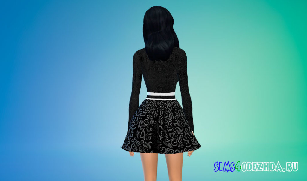 Яркое короткое платье ведьмы для Симс 4 - фото 3