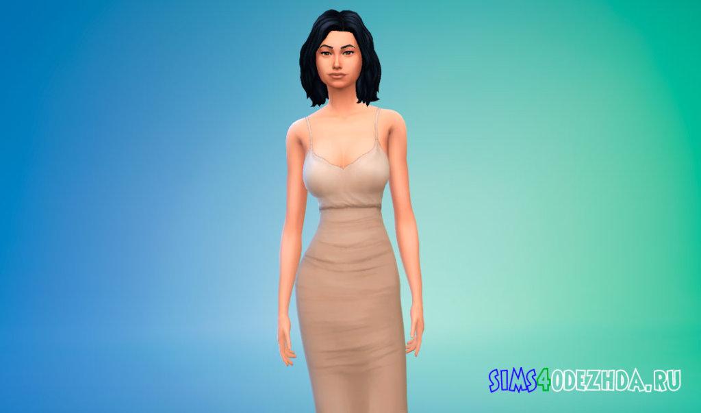 Контрастное платье миди для Симс 4 - фото 1