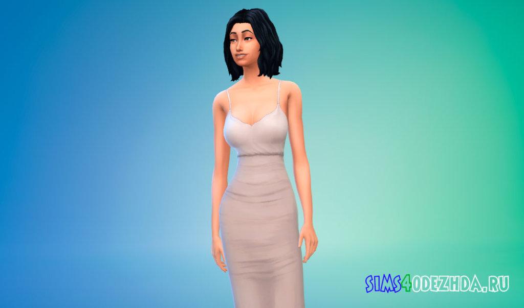 Контрастное платье миди для Симс 4 - фото 2