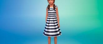 Летнее платье в полоску для Симс 4 - фото 1
