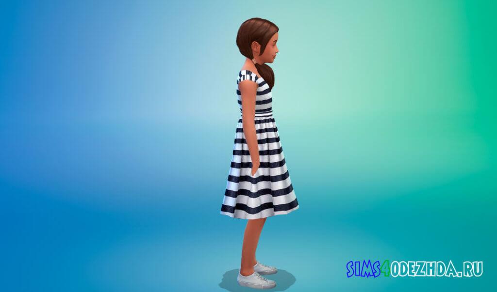 Летнее платье в полоску для Симс 4 - фото 2