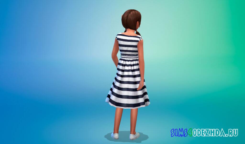 Летнее платье в полоску для Симс 4 - фото 3
