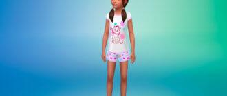 Летние пижамы для девочек для Симс 4 - фото 1