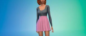Мини-платье в стиле кэжуал для Симс 4 - фото 1