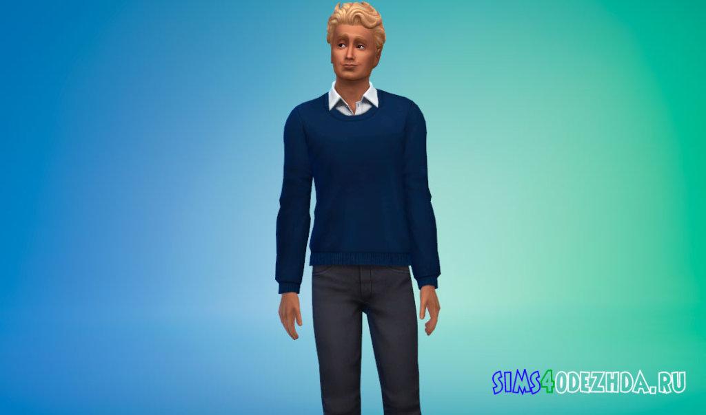 Мужской вязаный свитер с рубашкой для Симс 4 - фото 1