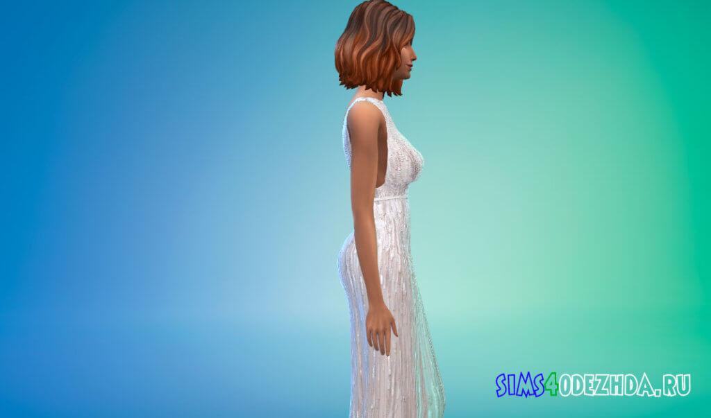 Платье белого жасминового цвета с приталенной талией для Симс 4 - фото 2