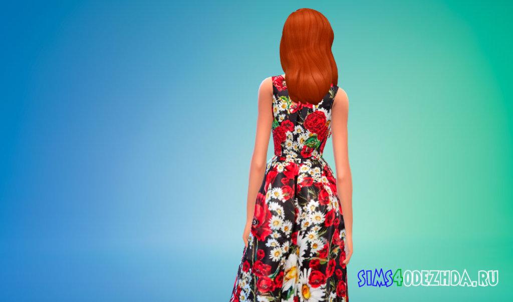 Платье без рукавов с цветочным рисунком для Симс 4 - фото 3