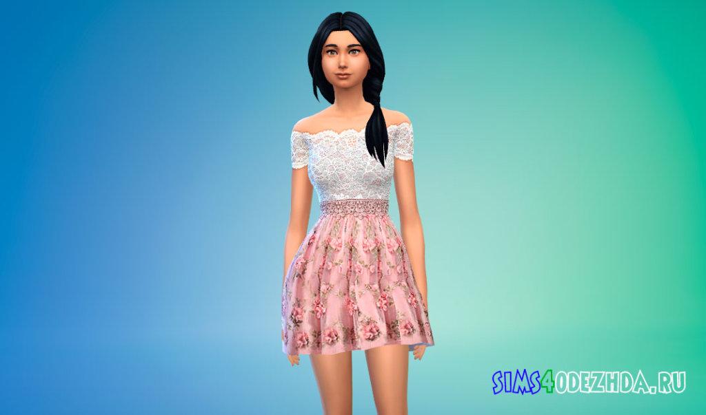 Платье из тюля с цветочным принтом для Симс 4 - фото 1