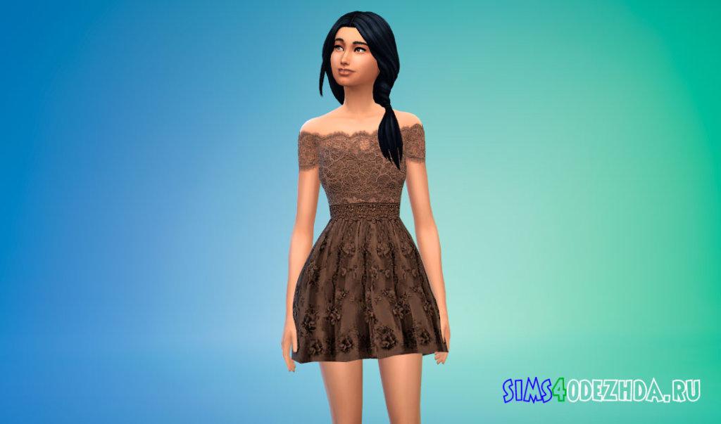 Платье из тюля с цветочным принтом для Симс 4 - фото 2