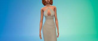 Платье миди со шнуровкой сзади для Симс 4 - фото 1