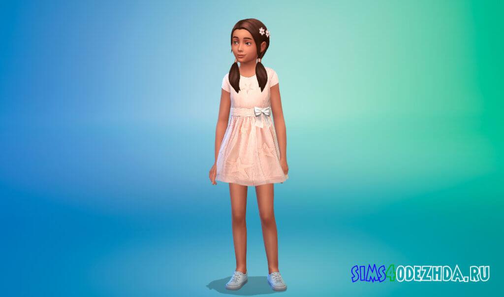 Платье с бантом на поясе для девочек для Симс 4 - фото 1