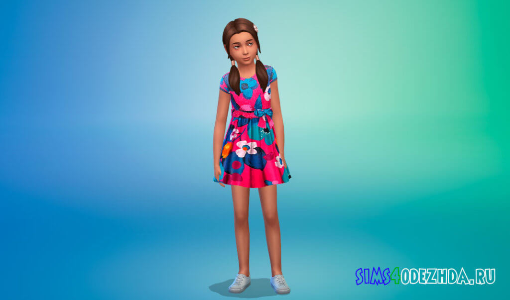 Платье с бантом на поясе для девочек для Симс 4 - фото 3