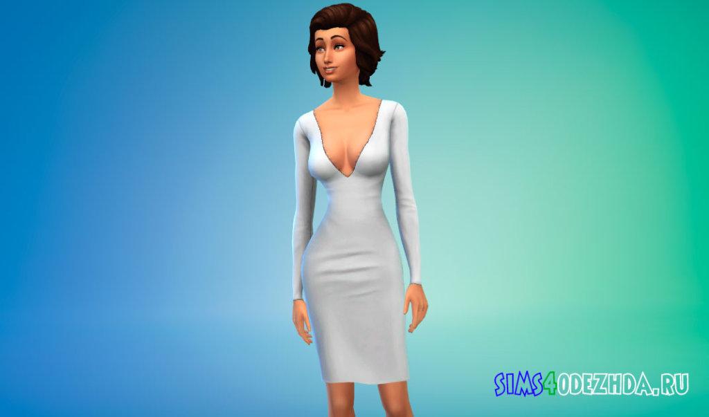 Платье с длинными рукавами и глубоким вырезом для Симс 4 - фото 1