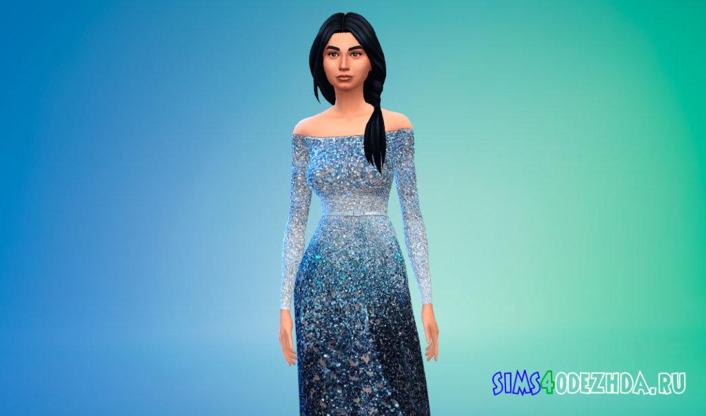 Платье с яркими блестками для Симс 4 - фото 1