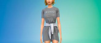 Платье с обернутой вокруг талии толстовкой для Симс 4 - фото 1