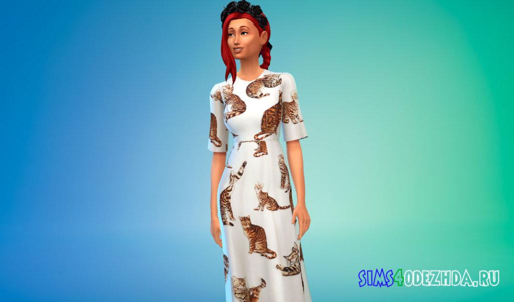Платье с принтами кошек для Симс 4 - фото 1