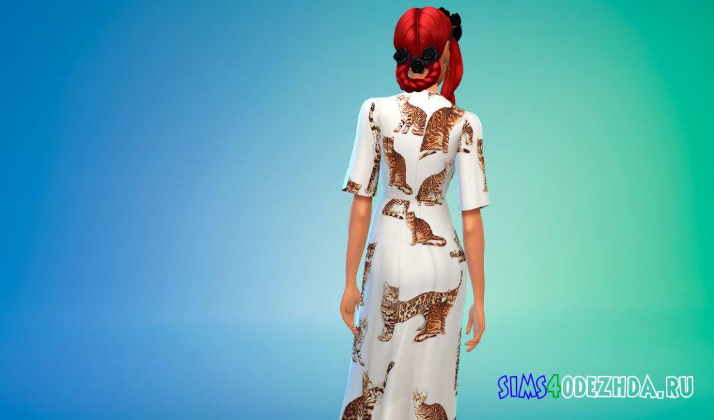 Платье с принтами кошек для Симс 4 - фото 3