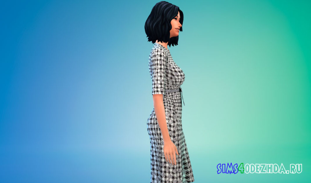 Платье в клетку с поясом для Симс 4 - фото 2