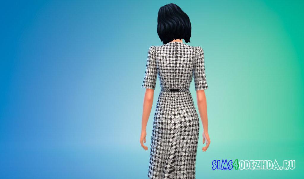 Платье в клетку с поясом для Симс 4 - фото 3