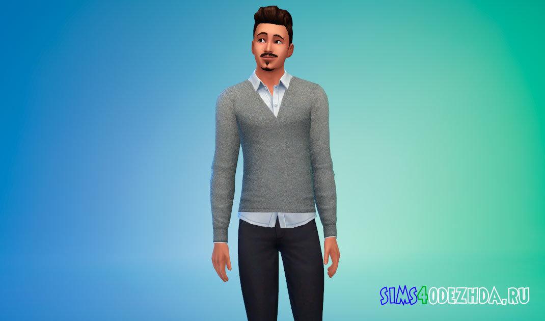 Повседневный мужской свитер с рубашкой для Симс 4 - фото 1