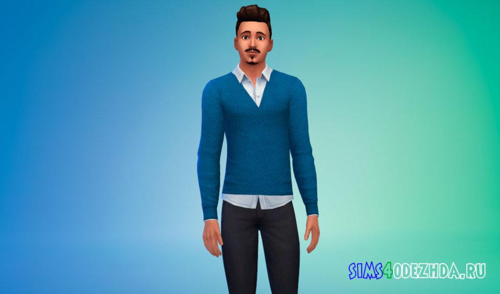 Повседневный мужской свитер с рубашкой для Симс 4 - фото 2