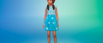 Прекрасное платье с пайетками со светящимися звездами для Симс 4 - фото 1