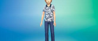 Рубашки поло с принтом для мальчиков для Симс 4 - фото 1