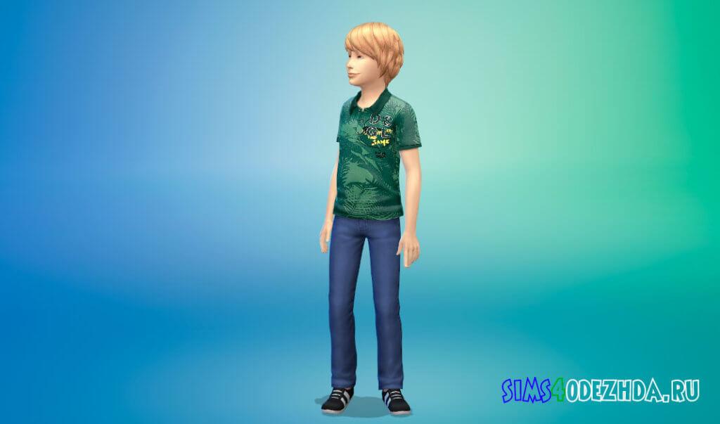 Рубашки поло с принтом для мальчиков для Симс 4 - фото 2