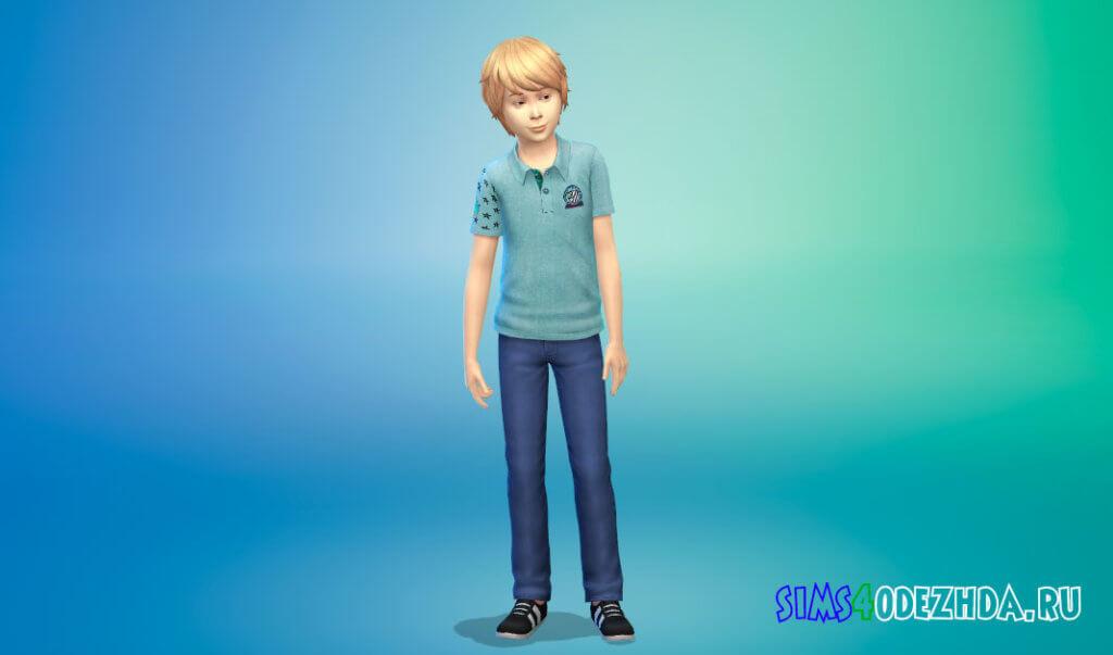 Рубашки поло с принтом для мальчиков для Симс 4 - фото 3