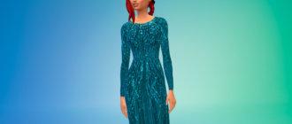 Шифоновое платье из эластичного шелка для Симс 4 - фото 1
