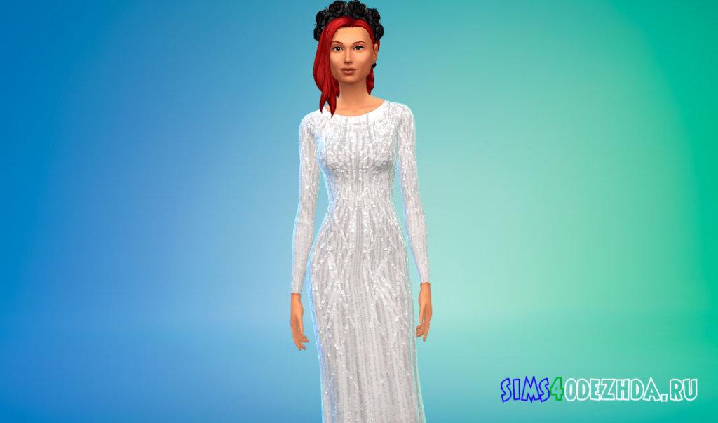 Шифоновое платье из эластичного шелка для Симс 4 - фото 2
