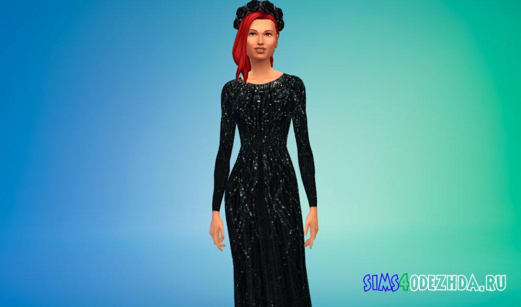 Шифоновое платье из эластичного шелка для Симс 4 - фото 3