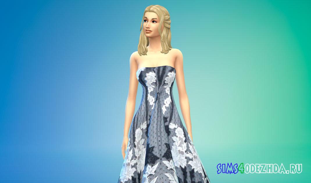 Шикарное длинное бальное платье для Симс 4 - фото 1