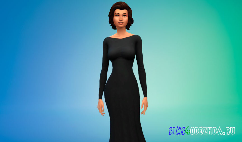 Шикарное длинное платье с открытой спиной для Симс 4 - фото 1