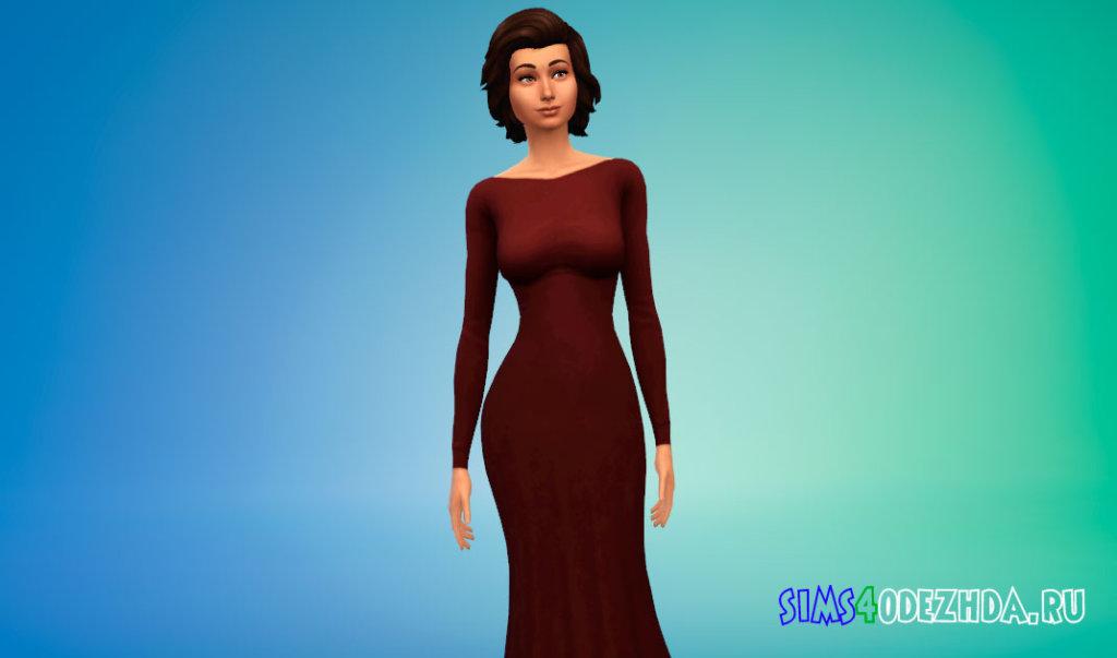 Шикарное длинное платье с открытой спиной для Симс 4 - фото 2