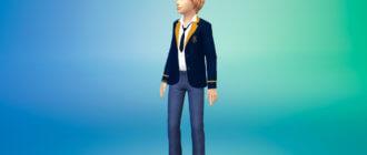 Школьный унисекс пиджак для детей для Симс 4 - фото 1