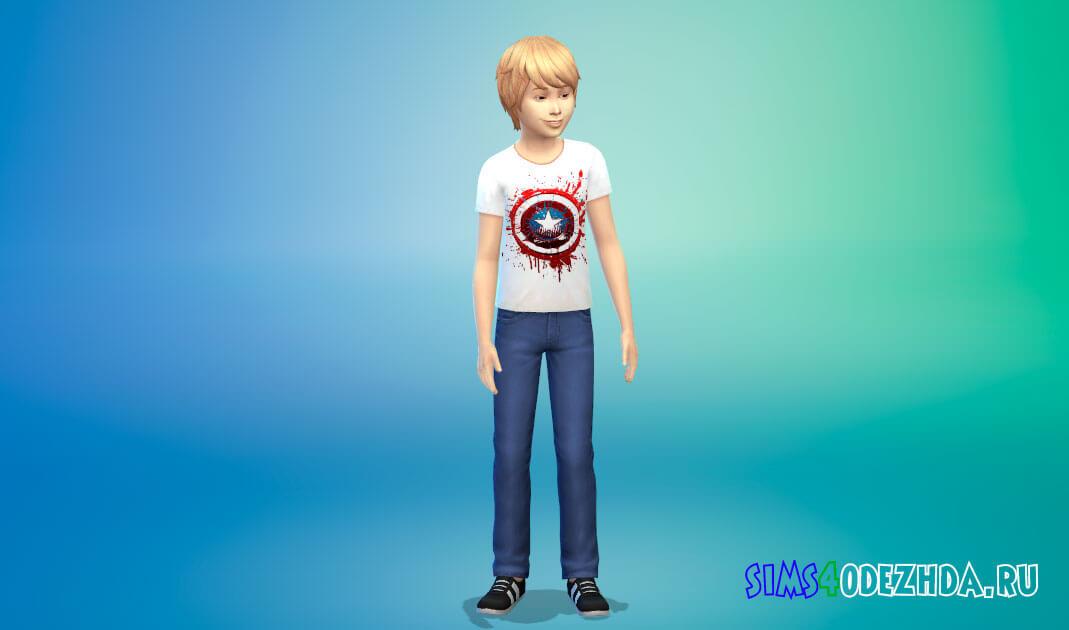 Супергеройские футболки для мальчиков для Симс 4 - фото 1
