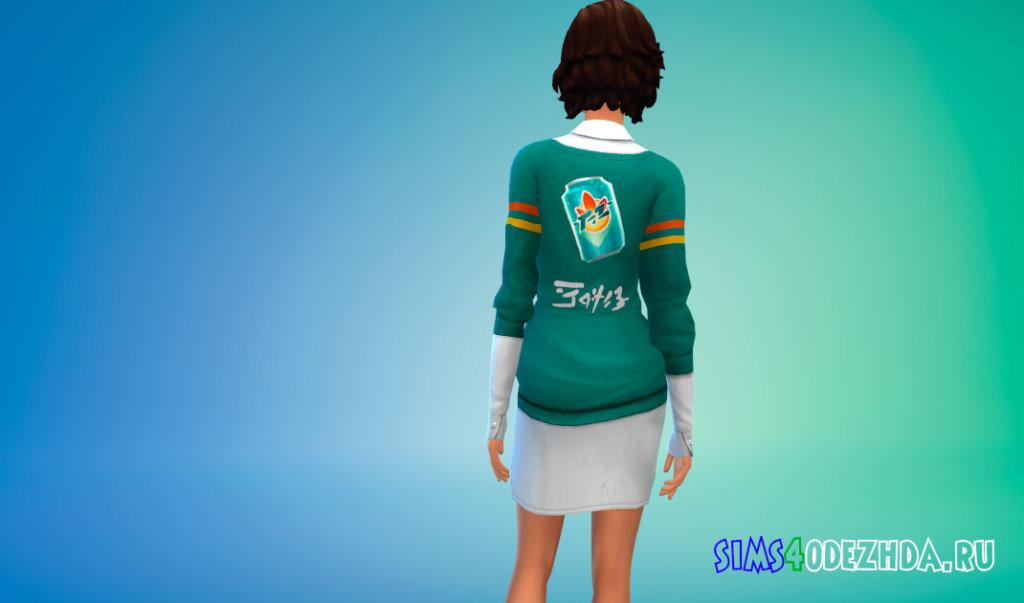 Свитер надетый поверх длинной рубашки для Симс 4 - фото 3