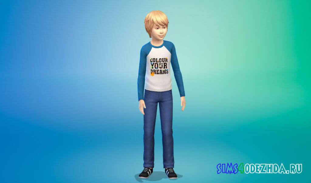 Свитшот с длинными рукавами для мальчиков для Симс 4 - фото 1