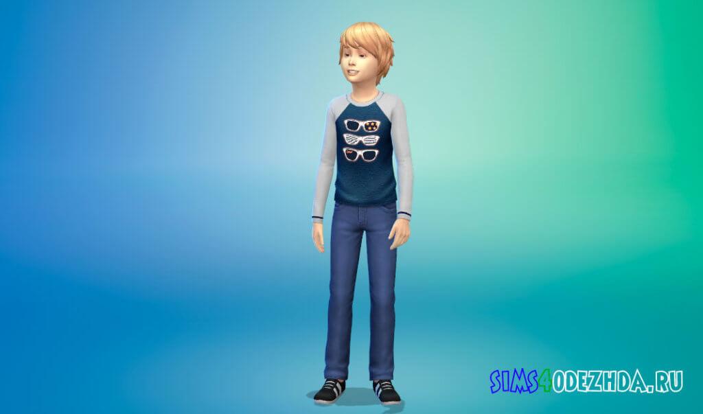 Свитшот с длинными рукавами для мальчиков для Симс 4 - фото 2