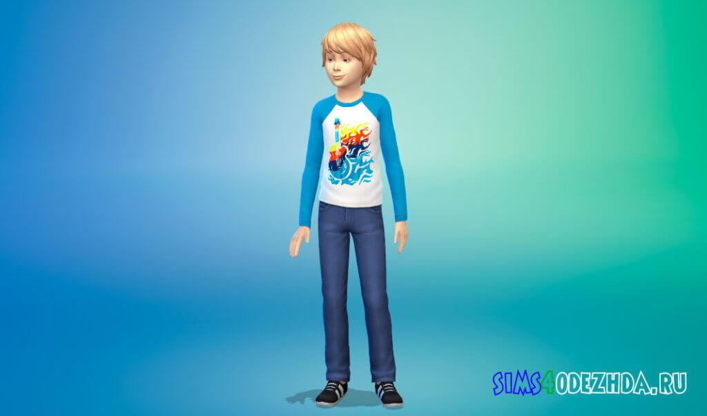 Свитшот с длинными рукавами для мальчиков для Симс 4 - фото 3
